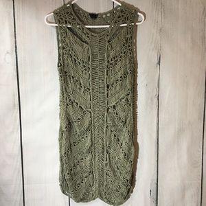 Topshop Olive Green Macrame Open Knit Dress